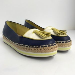 Coach Romy Espadrilles Navy & Yellow Leather 8.5